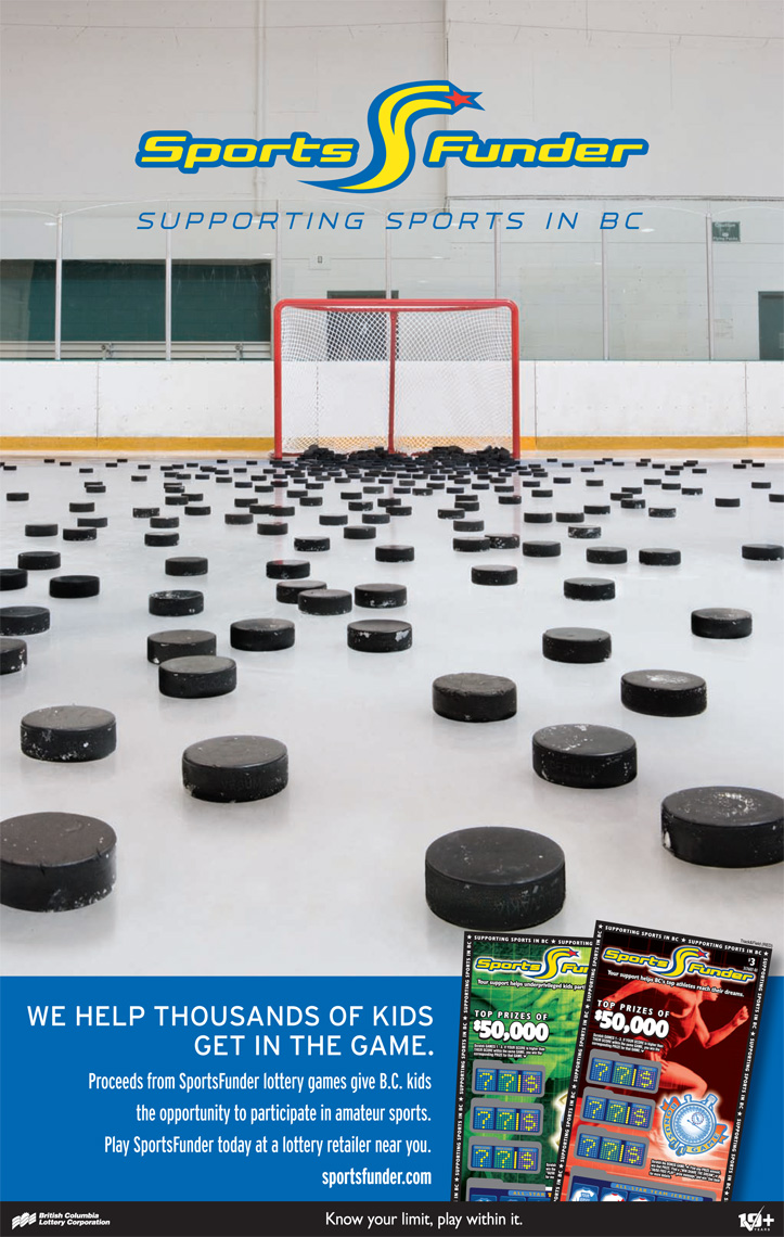 Lindsay Siu Photographer Vancouver Cossette Advertising BCLC Sportsfunder hockey pucks poster layout.jpg